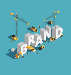 Brand building construction 3d isometric vector
