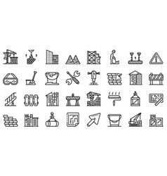Building reconstruction icons set outline style vector
