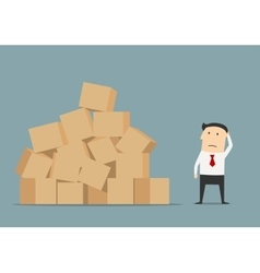 Businessman has problem with delivery and storage vector image