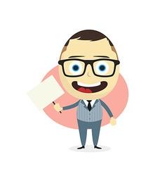 Businessman holding blank sign vector