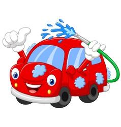 Cartoon car giving thumb up vector image