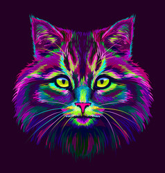 cat hand-drawn abstract multicolored portrait o vector image
