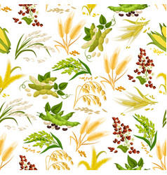 Cereals seamless pattern of grain vector