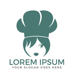 Chef woman face logo design vector