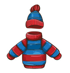 childrens blue-red sweater and hat isolated on a vector image