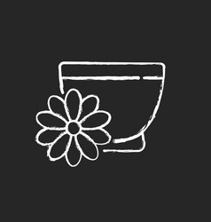 Chrysanthemum tea chalk white icon on black vector