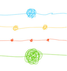 color messy clew connected lines set vector image