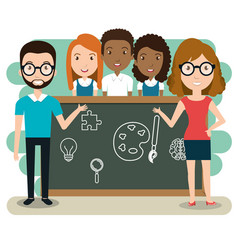 Couple teachers with students in the classroom vector