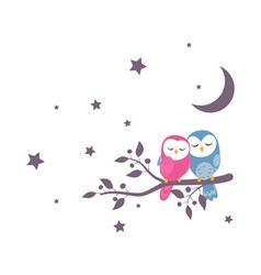 couples owls family sitting on night scene vector image