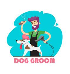 Cute dog at groomer salon vector