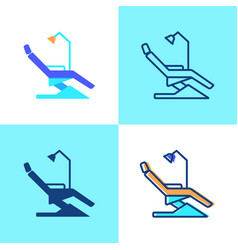Dentist chair icon set in flat and line style vector