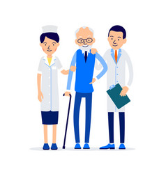 Doctor and nurse stand and support old patient vector
