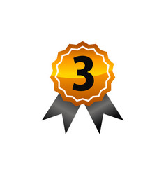 Emblem best quality number 3 vector