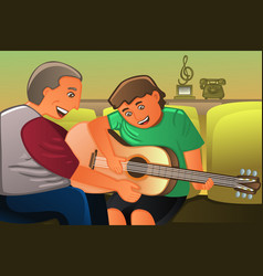 father playing guitar with his son vector image