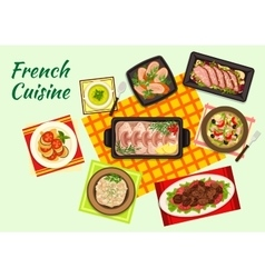 Fine french cuisine menu dishes vector