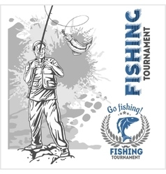 Fishing - fisherman with a fishing rod on grunge vector