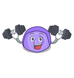 Fitness blueberry roll cake character cartoon vector