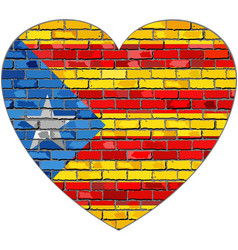 flag of catalonia on a brick wall in heart shape vector image