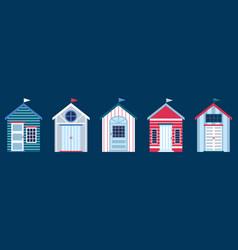 Flat colorful beach huts vector