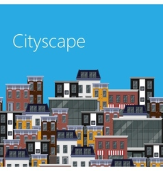 Flat of different city buildings citycape vector
