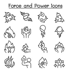 Force and power icon set in thin line style vector