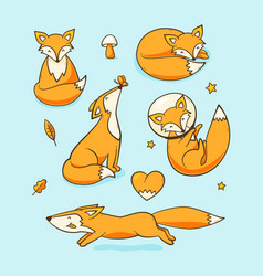 foxes set vector image