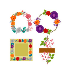 frame flowers colors blank collection template set vector image