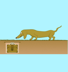 funny yellow cartoon dachshund vector image