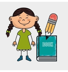 Girl student book pencil vector