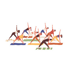 group active people exercising together scene vector image
