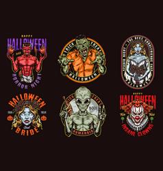 Halloween colorful vintage designs vector