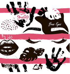 Hand drawn fashion eyes lip heart on the vector