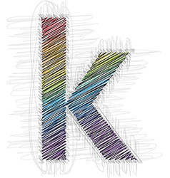 Hand drawn font LETTER k vector