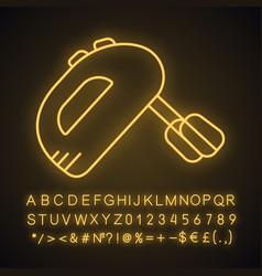 Handheld mixer neon light icon vector