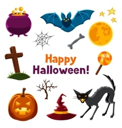 Happy halloween seamless pattern with characters vector image