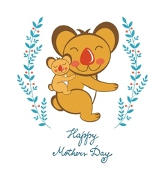 Happy Mothers day card with cute koalas mom and vector