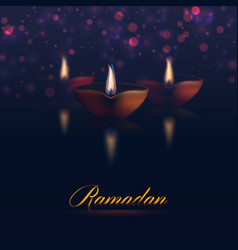 happy ramadan kareem traditional holiday lights vector image
