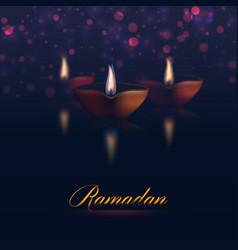 Happy ramadan kareem traditional holiday lights vector