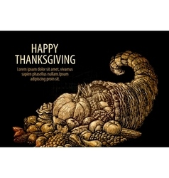 Happy thanksgiving horn plenty cornucopia vector