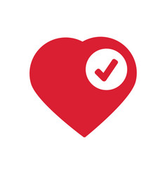 heart sign web icon with check mark glyph vector image