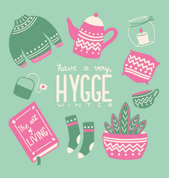 hygge concept with colorful hand lettering vector image