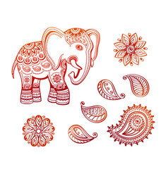 indian ethnic elephant with tribal ornaments vector image