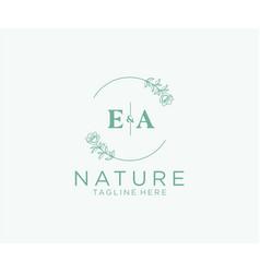 Initial ea letters botanical feminine logo vector