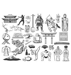 japan icons with asian food religion and culture vector image
