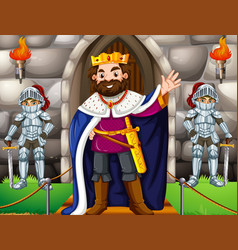 king and two knights at the castle vector image