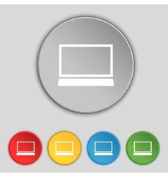 Laptop sign icon notebook pc symbol set color vector