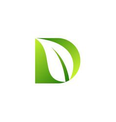 letter d with leaf logo leaf letter d logo icon vector image
