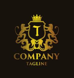Luxury letter t logo vector