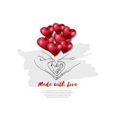 Man and woman hand shape heart and heart balloon vector