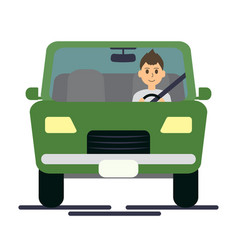 man driving green vector image